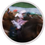 Horse Racing Horses Breaking From The Round Beach Towel