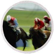 Horse Racing, Ireland Jockeys Racing Round Beach Towel