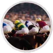 Horse Racing, Phoenix Park, Dublin Round Beach Towel