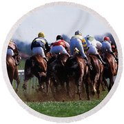 Horse Racing Rear View Of Horses Racing Round Beach Towel