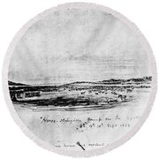 Horse Slaughter Camp 1858 Round Beach Towel