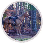 Horse Waiting For Rider Round Beach Towel