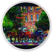 Horsedrawn Carriage Round Beach Towel