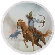 Horsemen From The Steppes Round Beach Towel
