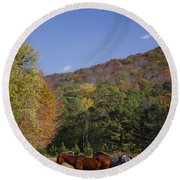 Horses And Autumn Landscape Round Beach Towel