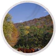 Horses And Autumn Landscape Round Beach Towel