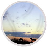 Horses And Sky Round Beach Towel