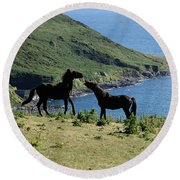 Horses By The Sea Round Beach Towel