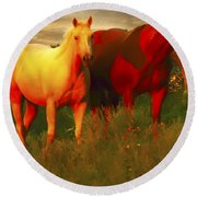 Horses Soft And Sweet Round Beach Towel