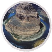 Horseshoe Bend View Round Beach Towel