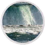 Horseshoe Falls Closeup Over The Brink Round Beach Towel
