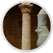 Horus Temple Of Edfu Egypt Round Beach Towel by Bob Christopher