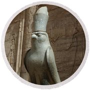 Horus The Falcon At Edfu Round Beach Towel by Bob Christopher