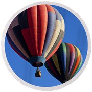Hot Air Ballons Floating High Round Beach Towel