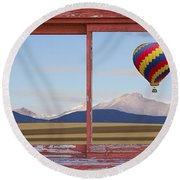 Hot Air Balloon And Longs Peak Red Rustic Picture Window View Round Beach Towel