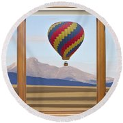 Hot Air Balloon Colorado Wood Picture Window Frame Photo Art Vie Round Beach Towel
