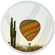 Hot Air Balloon In The Arizona Desert With Giant Saguaro Cactus Round Beach Towel