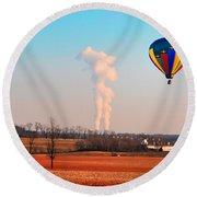 Hot Air Balloon Near Limerick Pa Round Beach Towel