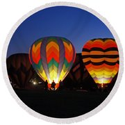 Hot Air Balloons At Dusk Round Beach Towel