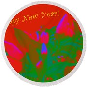 Hot As A Pepper New Year Greeting Card Round Beach Towel
