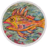 Hot Lips The Fish Round Beach Towel