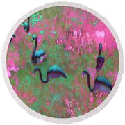 Hot Pink Flamingos Garden Abstract Art  Round Beach Towel