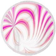 Hot Pink Swirls Round Beach Towel