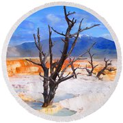 Hot Spring Trees Round Beach Towel