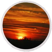Hot Summer Night Sunset Round Beach Towel