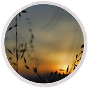 Hot Sunset Round Beach Towel