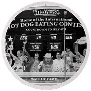 Hotdog Eating Contest Time In Black And White Round Beach Towel