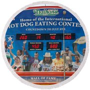 Hotdog Eating Contest Time Round Beach Towel