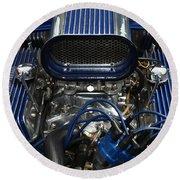 Hotrod Engine In Blue Round Beach Towel