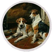 Hounds In A Stable Interior Round Beach Towel