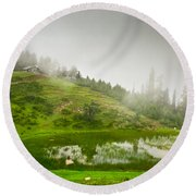 House And Fog Round Beach Towel by Syed Aqueel