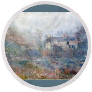 House At Falaise Round Beach Towel by Claude Monet