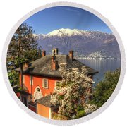 House On The Lake Front Round Beach Towel