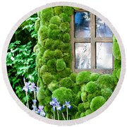 House With Moss Walls Round Beach Towel