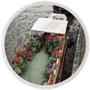Houseboats In Paris Round Beach Towel by Elena Elisseeva