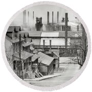 Houses And Steelmill Round Beach Towel