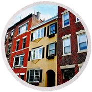 Houses In Boston Round Beach Towel