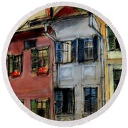 Houses In Transylvania 1 Round Beach Towel
