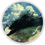 Houses On A Hill Round Beach Towel