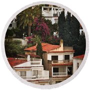 Houses On The Hill Nerja Round Beach Towel by Mary Machare