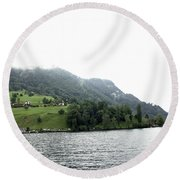Houses On The Slope Of A Mountain Next To Lake Lucerne Round Beach Towel