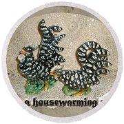 Housewarming Invitation - Black And White Chickens Figurines Round Beach Towel