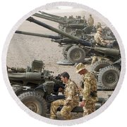 Howitzer 105mm Light Guns Are Lined Round Beach Towel