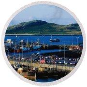 Howth Harbour & Irelands Eye, Co Round Beach Towel