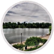 Hoyt Lake Delaware Park 0002 Round Beach Towel