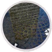 Hsbc Plaza Reflection Round Beach Towel